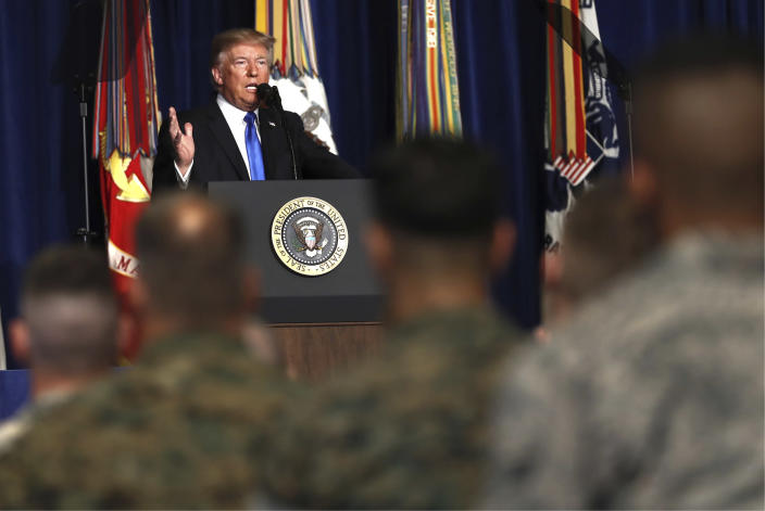 President Trump speaks at Fort Myer in Arlington Va., Monday, Aug. 21, 2017, outlining the strategy he believes will best position the U.S. to eventually declare victory in Afghanistan. (Photo: Carolyn Kaster/AP)