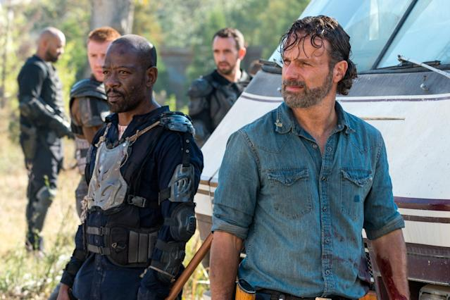 Morgan (Lennie James), left, and Rick (Andrew Lincoln) in  <em>The Walking Dead. </em>(Photo: AMC)