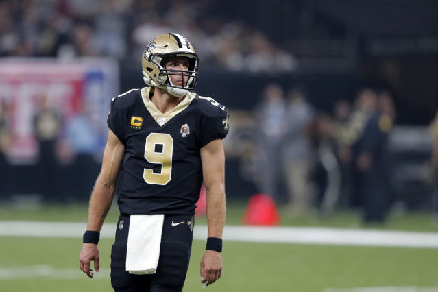 New Orleans Saints quarterback Drew Brees (9) reacts after a play in the first half of an NFL football game against the Houston Texans in New Orleans, Monday, Sept. 9, 2019. (AP Photo/Bill Feig)