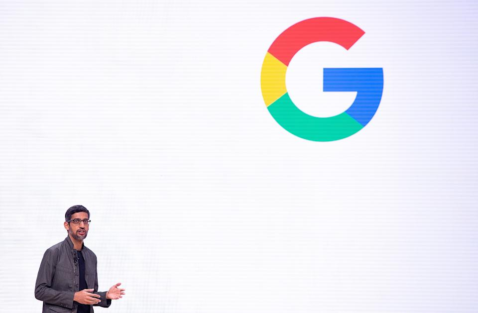 Google CEO Sundar Pichai speaks on-stage during the annual Game Developers Conference at Moscone Center in San Francisco, California on March 19, 2019. (Photo by Josh Edelson / AFP)        (Photo credit should read JOSH EDELSON/AFP/Getty Images)