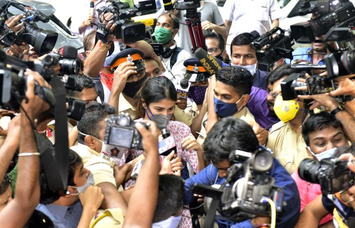 Rhea Chakraborty being hounded by media professionals at the NCB office in Mumbai on September 6, was widely criticised. (Photo by Anshuman Poyrekar/Hindustan Times via Getty Images)