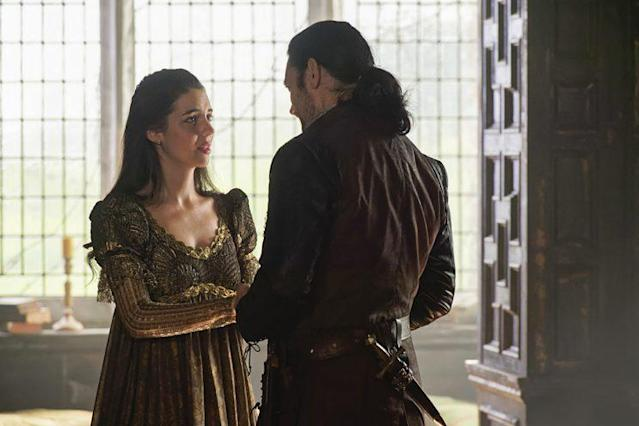 Adelaide Kane as Mary Queen of Scots and Adam Croasdell as Bothwell in The CW's 'Reign' (Photo Credit: Ben Mark Holzberg/The CW)