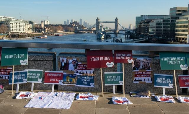 Placards and photos on London Bridge for the victims of the London Bridge terrorist attack