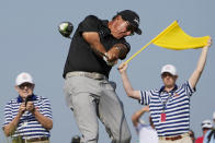 Phil Mickelson hits his tee shot on the 15th hole during the second round of the PGA Championship golf tournament on the Ocean Course Friday, May 21, 2021, in Kiawah Island, S.C. (AP Photo/David J. Phillip)