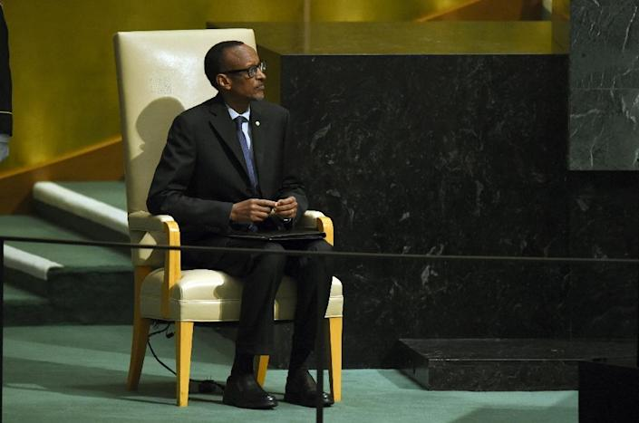 Rwanda's President Paul Kagame waits to address the 70th Session of the UN General Assembly in New York in September 2015 (AFP Photo/Timothy A. Clary)