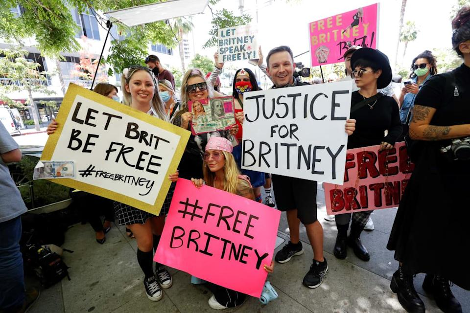 """<div class=""""inline-image__caption""""><p>Britney Spears fans show support outside a June 23 conservatorship case hearing at the Stanley Mosk Courthouse in Los Angeles.</p></div> <div class=""""inline-image__credit"""">Mario Anzuoni/Reuters</div>"""