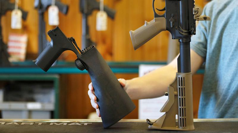 Gun stores nationwide are selling out of bump stocks, a device used by the Las Vegas shooter that allows a semiautomatic gun to fire as quickly as a machine gun.