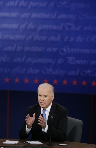 Vice President Joe Biden answers a question during the vice presidential debate at Centre College, Thursday, Oct. 11, 2012, in Danville, Ky. (AP Photo/Mark Humphrey)