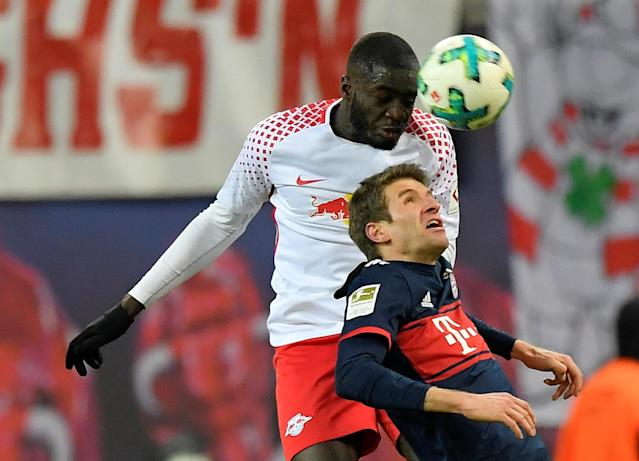 Soccer Football - Bundesliga - RB Leipzig vs Bayern Munich - Red Bull Arena, Leipzig, Germany - March 18, 2018 RB Leipzig's Dayot Upamecano in action with Bayern Munich's Thomas Mueller REUTERS/Matthias Rietschel DFL RULES TO LIMIT THE ONLINE USAGE DURING MATCH TIME TO 15 PICTURES PER GAME. IMAGE SEQUENCES TO SIMULATE VIDEO IS NOT ALLOWED AT ANY TIME. FOR FURTHER QUERIES PLEASE CONTACT DFL DIRECTLY AT + 49 69 650050