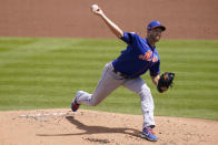 New York Mets starting pitcher Jacob deGrom throws during the first inning of a spring training baseball game against the Washington Nationals, Sunday, March 21, 2021, in West Palm Beach, Fla. (AP Photo/Lynne Sladky)