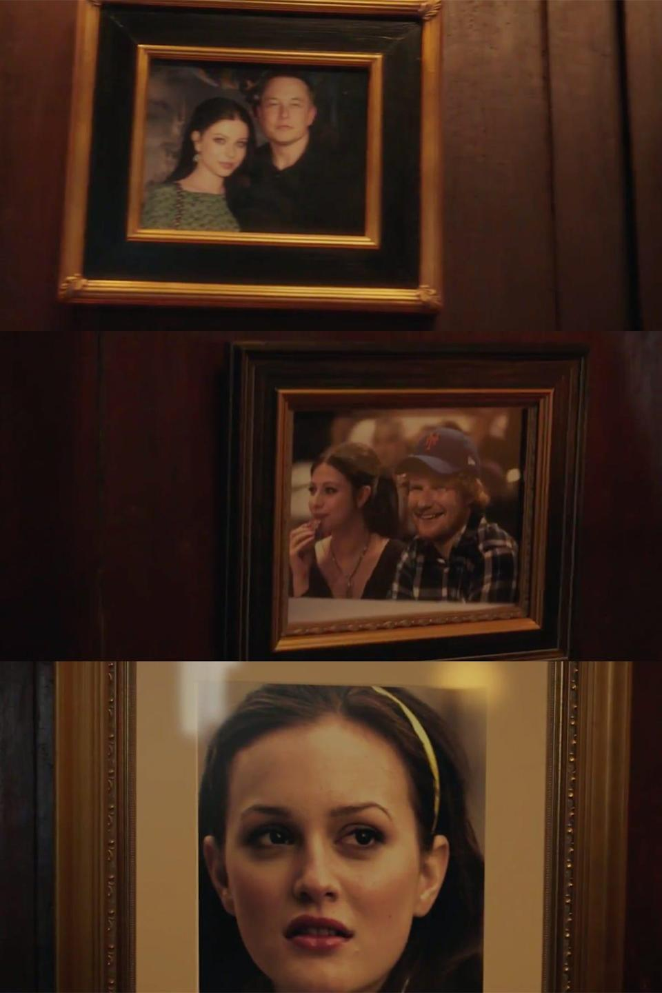 """Framed photos of Michelle Trachtenberg's """"Gossip Girl"""" character, Georgina, with Elon Musk and Ed Sheeran, along with a photo of Leighton Meester as Blair Waldorf."""