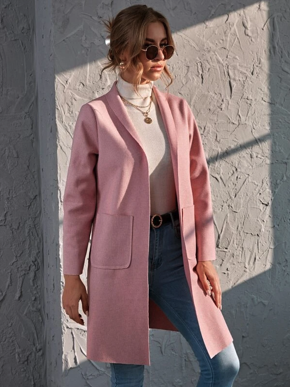 Dual Pockets Shawl Collar Overcoat. Image via SHEIN.