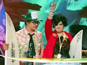 """Jack and Kelly (R) Osbourne, children of rock star [Ozzy Osbourne], accept their award for Choice TV Reality Show for """"The Osbournes"""" at the Teen Choice Awards taping August 4, 2002 in Los Angeles. The awards show will be telecast August 19 on the Fox television network in the United States."""