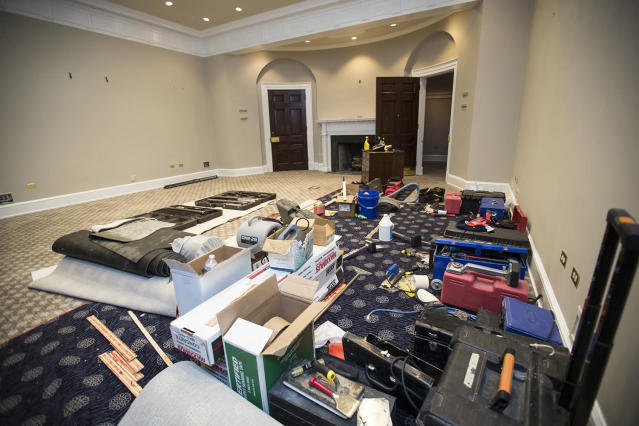 <p>The Roosevelt Room in the the West Wing of the White House is undergoing renovations while President Donald Trump is spending time at his golf resort in New Jersey, Friday, Aug. 11, 2017, in Washington. (AP Photo/J. Scott Applewhite) </p>