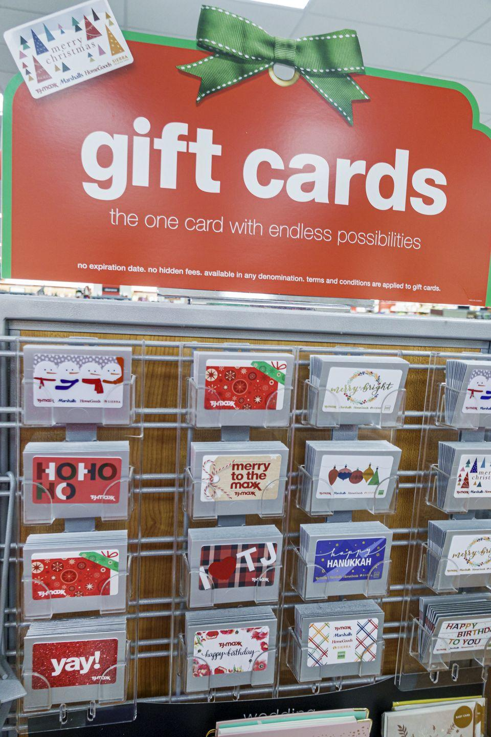 <p>Most grocery stores now offer convenient gift card racks that have gift cards to every store you can think of. Grocery stores don't mark these up, but that doesn't mean you can't buy them at a warehouse store for a cheaper price. If you're a member of Costco or Sam's Club, you can buy them there and save. </p>