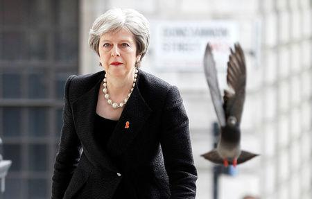 FILE PHOTO: A pigeon flies ahead of British Prime Minister Theresa May as she arrives for an event in London