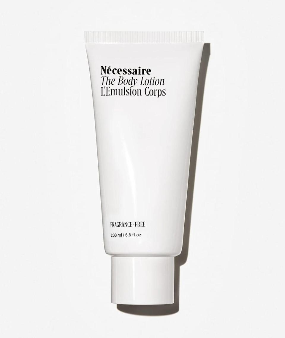 <p>If your skin is dry <em>and</em> sensitive, bestselling <span>Nécessaire The Body Lotion</span> ($25) deeply hydrates with a pH-balanced, fragrance-free blend of skin-nourishing oils. It absorbs fast and contains vitamins A, C, and E which help to nourish skin.</p>