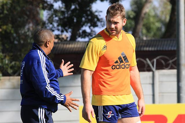 CAPE TOWN. SOUTH AFRICA - MAY 09: Stormers coach Allister Coetzee talks with Jebb Sinclair during the DHL Stormers training session at High Performance Centre in Bellville on May 09, 2012 in Cape Town, South Africa. (Photo by Ashley Vlotman/Gallo Images/Getty Images)
