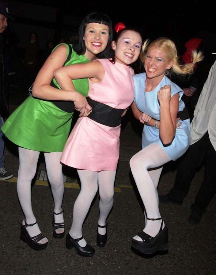"""<p>If your trio is made of sugar, spice, and everything nice, then you should take on Bubbles, Blossom, and Buttercup as the Powerpuff Girls. </p><p><a class=""""link rapid-noclick-resp"""" href=""""https://www.amazon.com/Guilty-Shoes-Classic-Comfort-Pumps-Shoes/dp/B0756MPDHN?tag=syn-yahoo-20&ascsubtag=%5Bartid%7C10070.g.3083%5Bsrc%7Cyahoo-us"""" rel=""""nofollow noopener"""" target=""""_blank"""" data-ylk=""""slk:SHOP BLACK MARY JANE SHOES"""">SHOP BLACK MARY JANE SHOES</a></p>"""