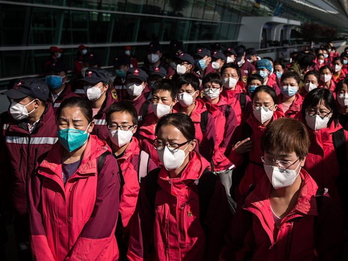 hubei wuhan medical workers staff protective masks coronavirus covid 19 march 17 2020 GettyImages 1207502928