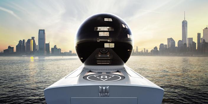The orb is the most striking design element of the yacht.