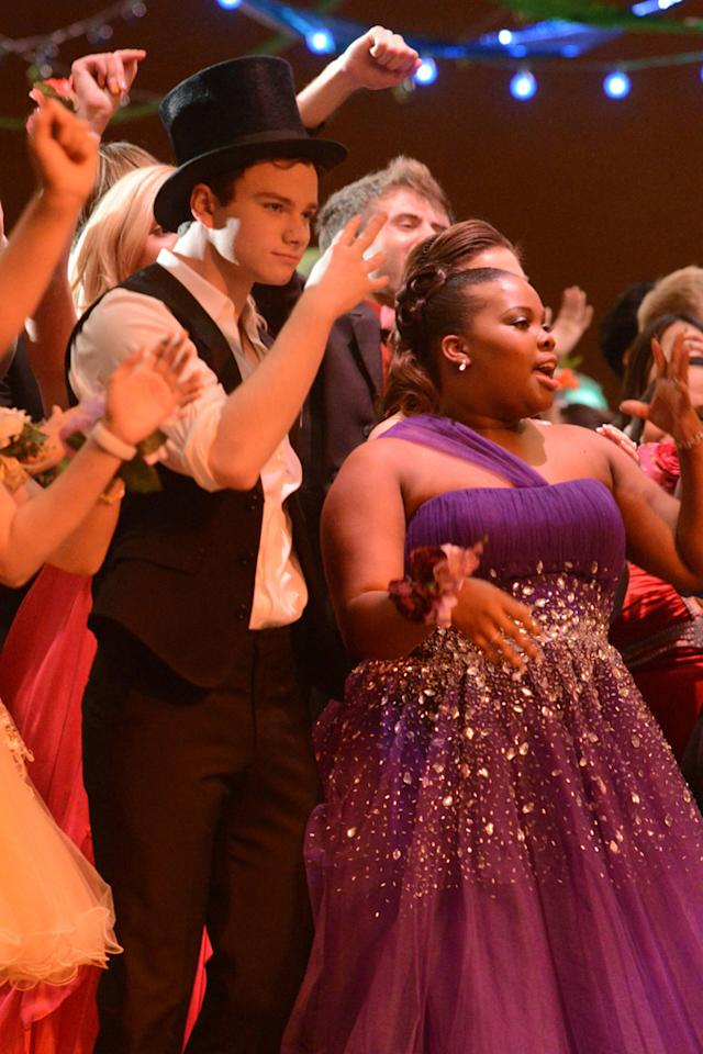 """BFFs Kurt (Chris Colfer) and Mercedes (Amber Riley) dance at their prom in the """"Prom-asaurus"""" episode of """"<a target=""""_blank"""" href=""""http://tv.yahoo.com/glee/show/44113"""">Glee</a>."""""""
