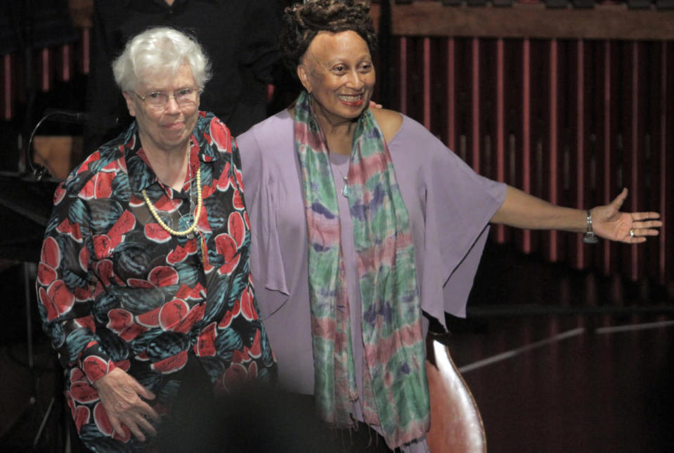 Pauline Oliveros (left) was an American composer, accordionist, and pioneer in experimental and electronic art music. She died Nov. 24 at age 84. (Photo: Getty Images)