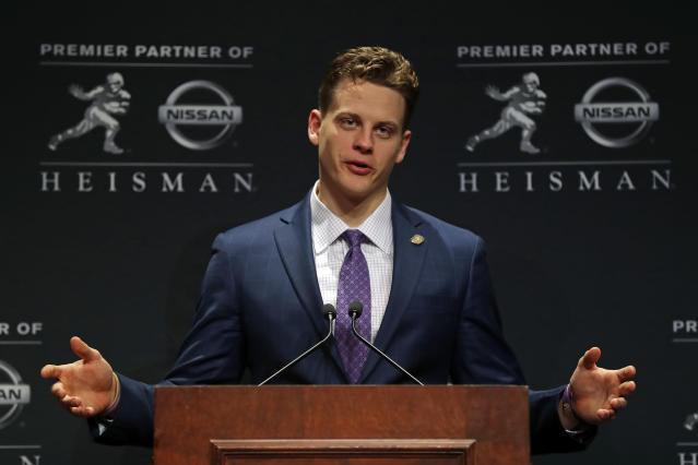 LSU QB Joe Burrow, this year's Heisman Trophy winner, could be the first overall pick of the 2020 NFL draft. (Photo by Adam Hunger/Getty Images)