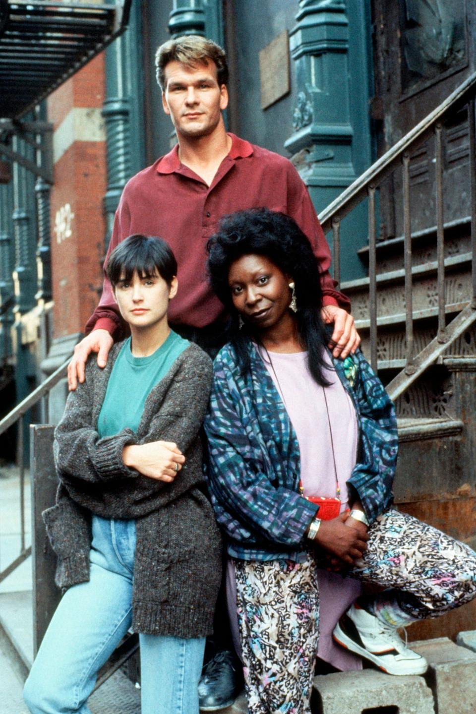 """Patrick Swayze, Demi Moore and Whoopi Goldberg on the set of """"Ghost,"""" which was released in 1990. (Photo: Sunset Boulevard via Getty Images)"""