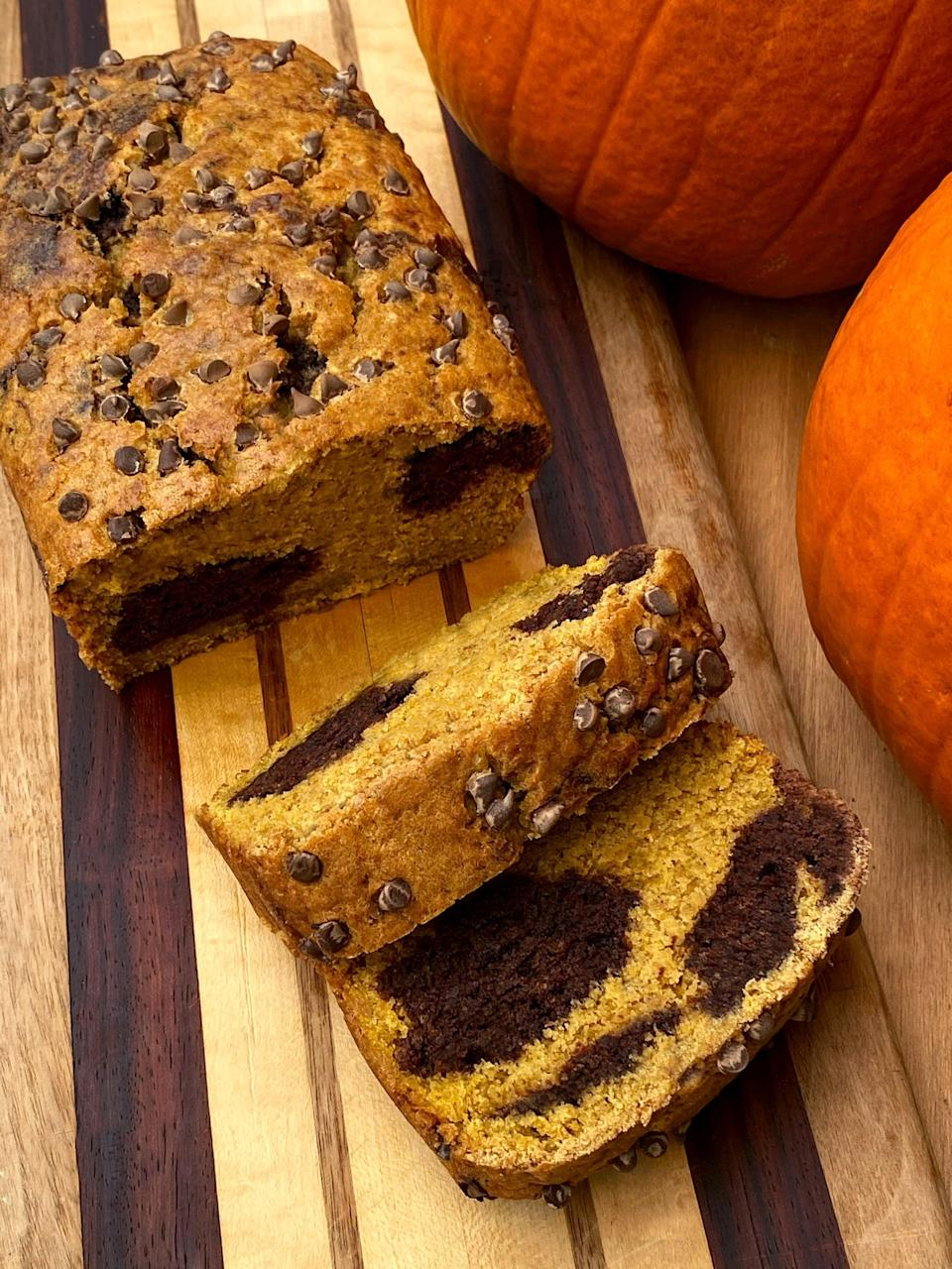 """<p>Made with whole-wheat flour, plant-based protein powder, and pumpkin puree, this treat offers almost five grams of filling fiber and almost nine grams of protein. Each slice also has just 5.6 grams of sugar, but tastes super sweet.</p> <p><strong>Get the recipe</strong>: <a href=""""https://www.popsugar.com/fitness/vegan-chocolate-marbled-pumpkin-protein-bread-47927032"""" class=""""link rapid-noclick-resp"""" rel=""""nofollow noopener"""" target=""""_blank"""" data-ylk=""""slk:vegan chocolate-marbled pumpkin protein bread"""">vegan chocolate-marbled pumpkin protein bread</a></p>"""