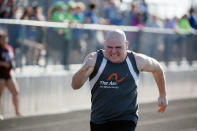 "ADDS THAT DEREK ""TANK"" SCHOTTLE WAS YOUNGER WHEN HIS FATHER SAW HIM BEING BULLIED AT SCHOOL - In this photo provided by Gary Schottle, Derek ""Tank"" Schottle competes in the 100 meter dash as part of the Pentathlon at a Special Olympics track meet in Rosenburg, Texas, on April 8, 2017. When Tank was younger, Gary Schottle arrived at the school in time to see the other kids in line hitting and jumping on his young son. Schottle had the same thoughts any other parents would, wondering how the kids could be so mean and why Derek didn't stick up for himself. Special Olympics changed everything for Tank. He blossomed into a leader, spreading love an inspiration to everyone he met. (Gary Schottle via AP)"