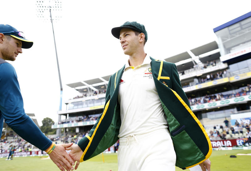 BIRMINGHAM, ENGLAND - AUGUST 01: Tim Paine of Australia greets Cameron Bancroft of Australia as he walks out for the coin toss during Day One of the 1st Specsavers Ashes Test between England and Australia at Edgbaston on August 01, 2019 in Birmingham, England. (Photo by Ryan Pierse/Getty Images)