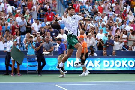 Aug 19, 2018; Mason, OH, USA; Novak Djokovic (SRB) reacts after defeating Roger Federer (SUI) during the finals in the Western and Southern tennis open at Lindner Family Tennis Center. Mandatory Credit: Aaron Doster-USA TODAY Sports