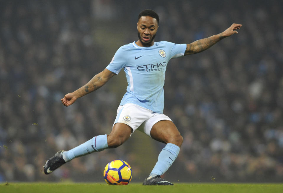 FILE - In this file photo dated Saturday, Dec. 16, 2017, Manchester City's Raheem Sterling during the English Premier League soccer match against Tottenham Hotspur at Etihad stadium, in Manchester, England. A man, named Karl Anderson, on Wednesday Dec. 20, 2017, has been given a 16-week prison sentence for racially assaulting Manchester City winger Raheem Sterling outside the club's training ground. (AP Photo/Rui Vieira, FILE)