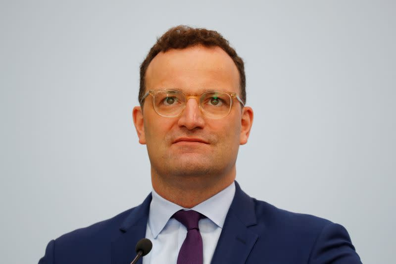 German Health Minister Jens Spahn holds a news conference on the spread of the coronavirus disease (COVID-19) in Germany, in Berlin