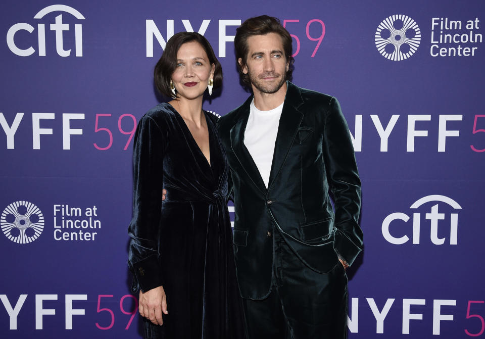 """Writer-director Maggie Gyllenhaal, left, and brother Jake Gyllenhaal pose together at a special screening of """"The Lost Daughter"""" at Alice Tully Hall during the 59th New York Film Festival on Wednesday, Sept 29, 2021. (Photo by Evan Agostini/Invision/AP) - Credit: Evan Agostini/Invision/AP"""
