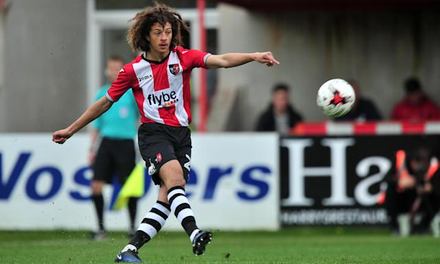 Ethan Ampadu, in action for Exeter City against Barnet in April, has agreed to join Chelsea.