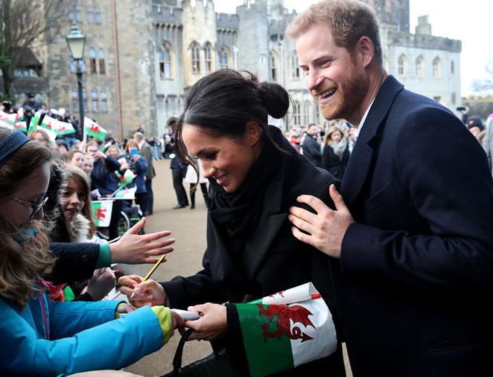 Meghan Markle and Prince Harry in Cardiff, Wales, on January 18