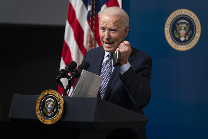 President Joe Biden speaks during an event to commemorate the 50 millionth COVID-19 shot, in the South Court Auditorium on the White House campus, Thursday, Feb. 25, 2021, in Washington. (AP Photo/Evan Vucci)