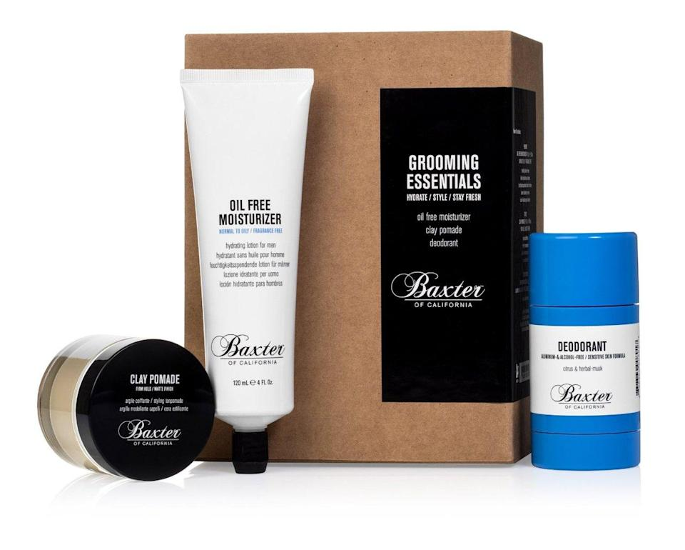 "<p>A word of advice for dudes: Don't forget the underarms. Deodorant is essential to feeling confidence, and this one is stylish to give — along with moisturizer and pomade in this ready-to-gift kit. <a href=""https://www.birchbox.com/men/baxter-of-california-grooming-essentials-kit"" rel=""nofollow noopener"" target=""_blank"" data-ylk=""slk:Baxter of California Grooming Essentials Kit"" class=""link rapid-noclick-resp"">Baxter of California Grooming Essentials Kit</a> ($48)</p>"