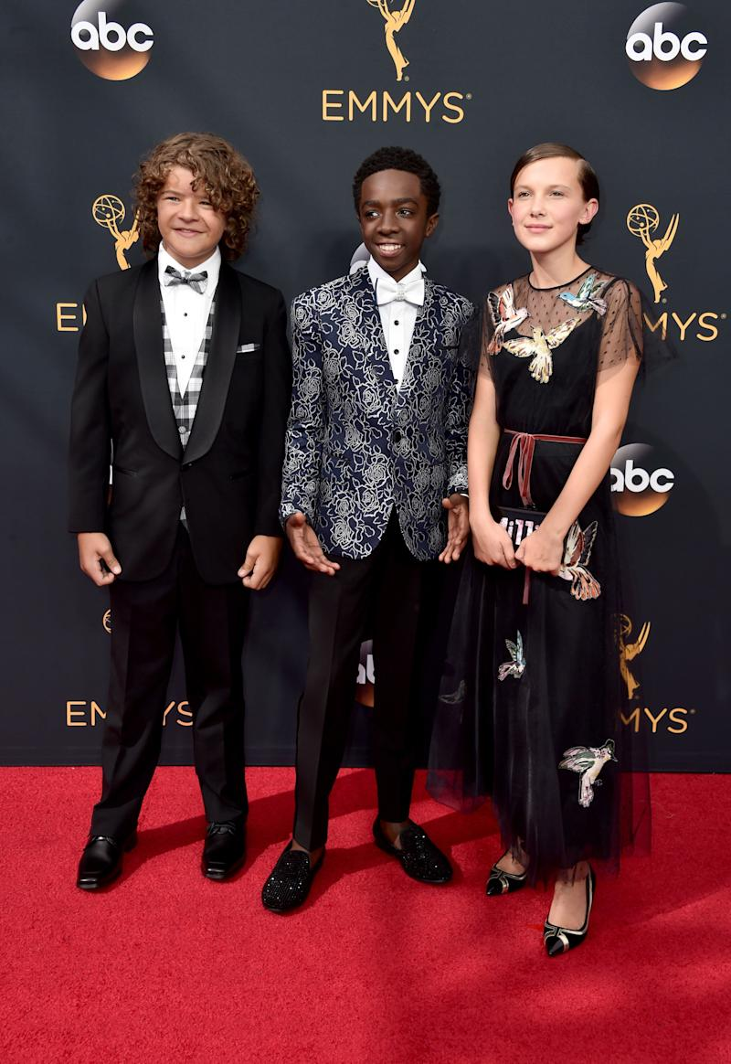 LOS ANGELES, CA - SEPTEMBER 18: (L-R) Actors Gaten Matarazzo, Caleb McLaughlin and Millie Bobby Brown attend the 68th Annual Primetime Emmy Awards at Microsoft Theater on September 18, 2016 in Los Angeles, California. (Photo by Alberto E. Rodriguez/Getty Images)