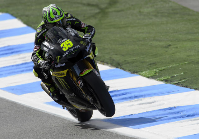 Monster Yamaha Tech 3 team's British drier Cal Crutchlow rides during the Moto GP first free practice session of the Portuguese Grand Prix in Estoril, outskirts of Lisbon, on May 4, 2012. AFP PHOTO / MIGUEL RIOPAMIGUEL RIOPA/AFP/GettyImages