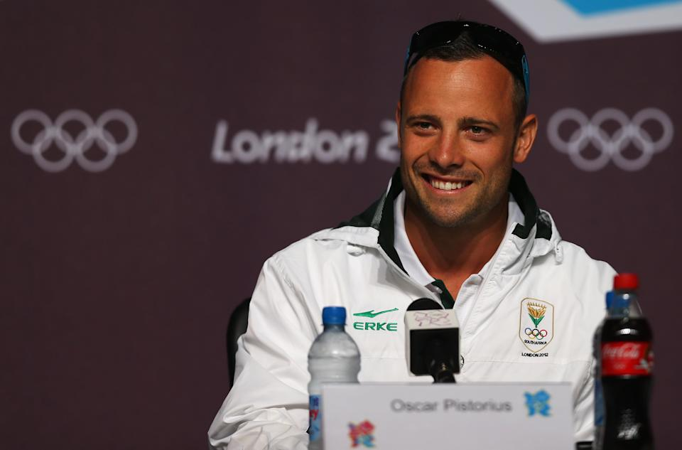 LONDON, ENGLAND - AUGUST 01: Oscar Pistorius of South Africa attend a press conference on Day 5 of the London 2012 Olympic Games at the Olympic Park on August 1, 2012 in London, England. (Photo by Phil Walter/Getty Images)