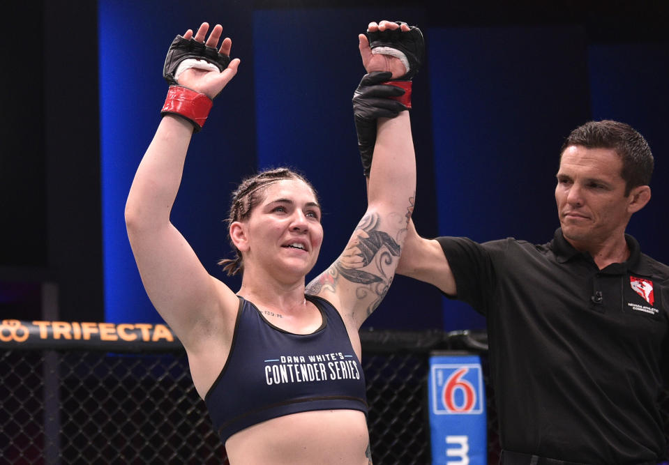 Sarah Alpar celebrates after her submission victory over Shanna Young in their bantamweight bout during Dana White's Contender Series