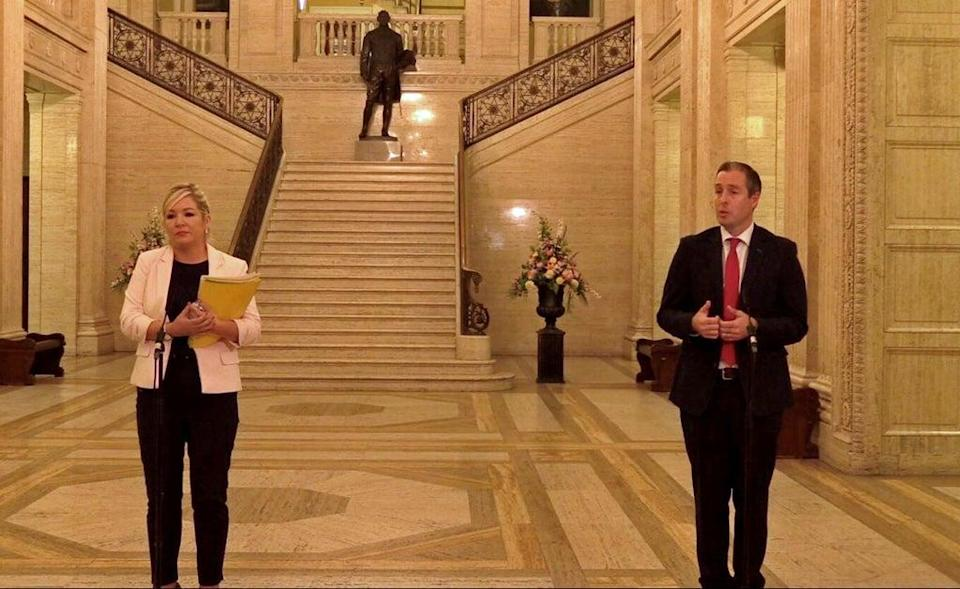 Michelle O'Neill and Paul Givan during a press conference at Parliament Buildings (David Young/PA) (PA Wire)