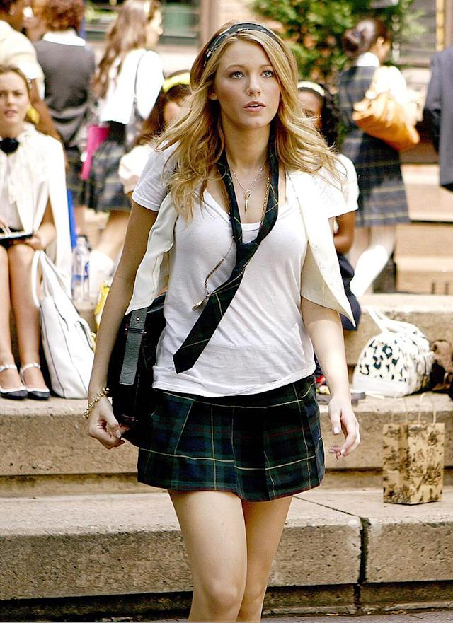 <p>On <em>Gossip Girl (</em>RIP!), Lively's Upper East Sider wardrobe included this fashionable number… and many, many others. (Photo: Giovanni Rufino/The CW/Everett Collection) </p>