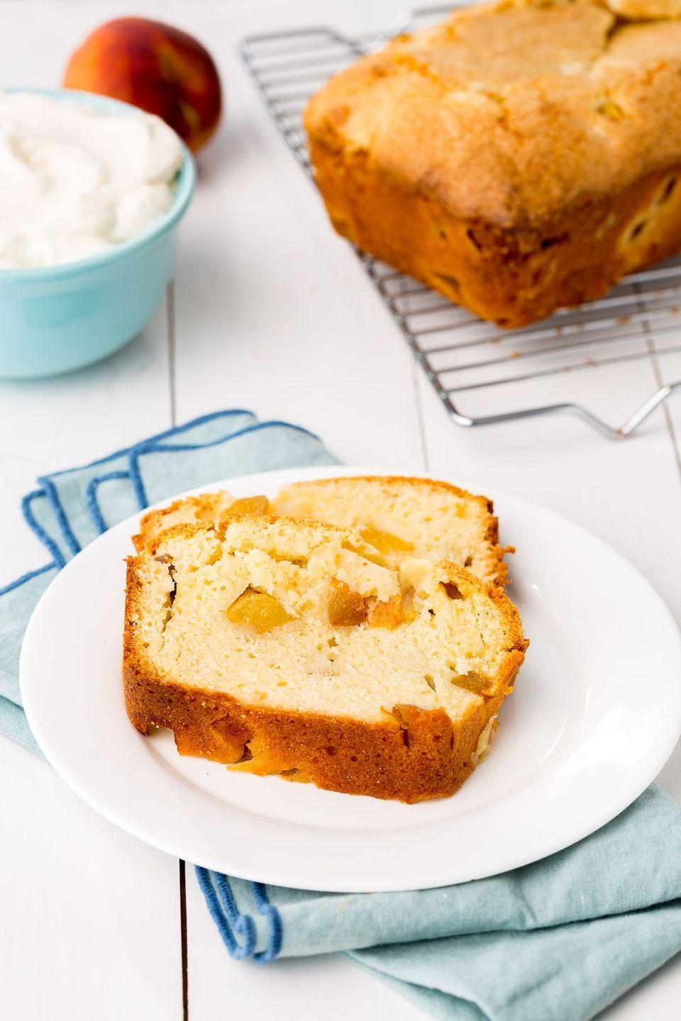 """<p>Less than 10 ingredients and peak-summer produce make this cake easy, just like the season should be.</p><p><em><a href=""""https://www.delish.com/cooking/recipe-ideas/recipes/a46949/peaches-cream-pound-cake-recipe/"""" rel=""""nofollow noopener"""" target=""""_blank"""" data-ylk=""""slk:Get the recipe from Delish »"""" class=""""link rapid-noclick-resp"""">Get the recipe from Delish »</a></em></p>"""