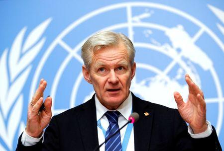 U.N. Syria envoy's Special Adviser Egeland attends a briefing after the meeting of the humanitarian task force on Syria in Geneva