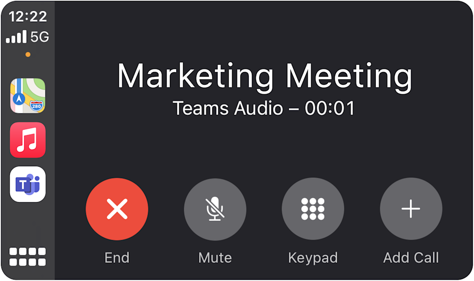 Microsoft will bring Teams to Apple's CarPlay later this month, allowing users to join meetings from the road. (Image: Microsoft)
