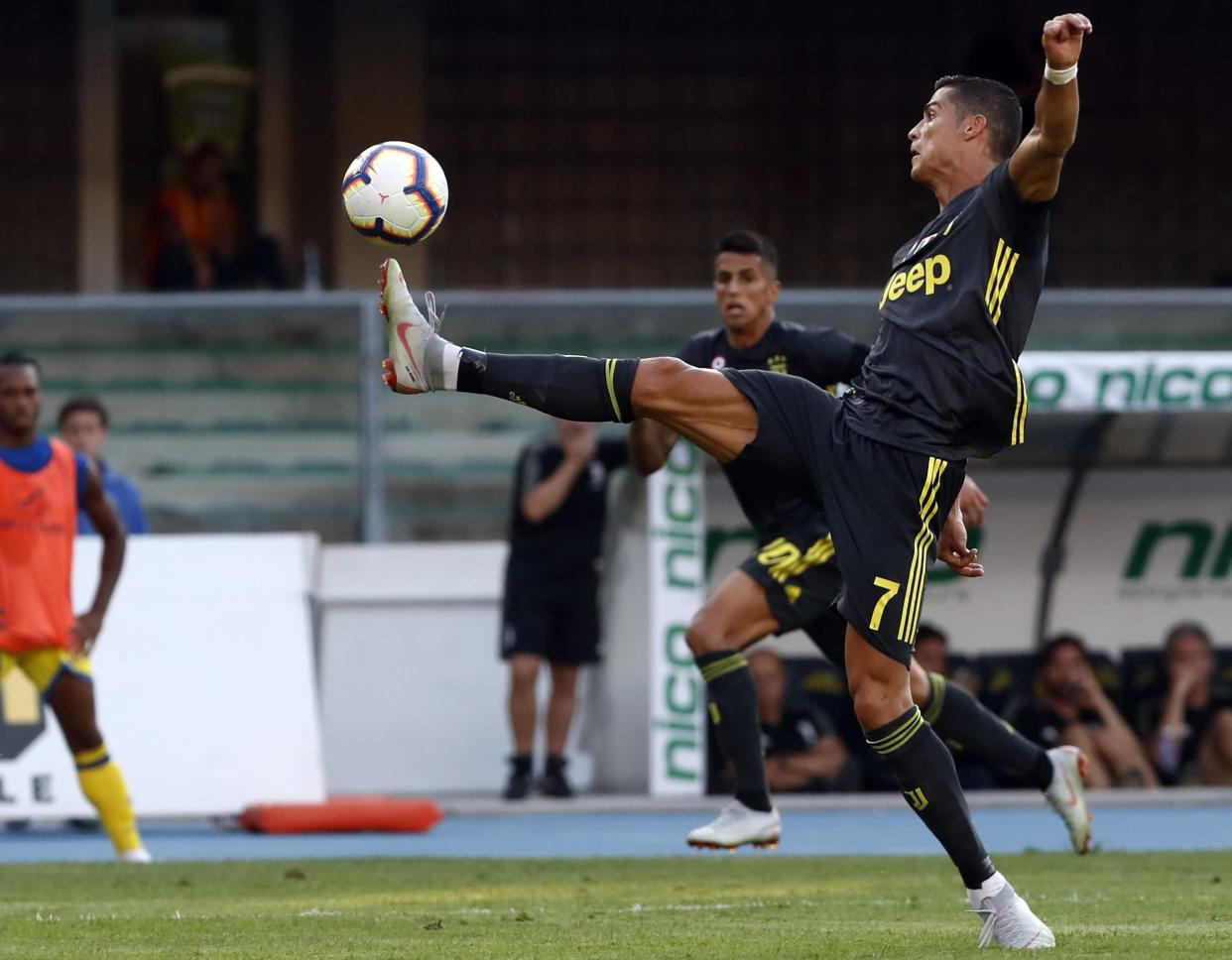 Slow start: Juventus' Ronaldo reaches for the ball during the Serie A soccer match between Chievo